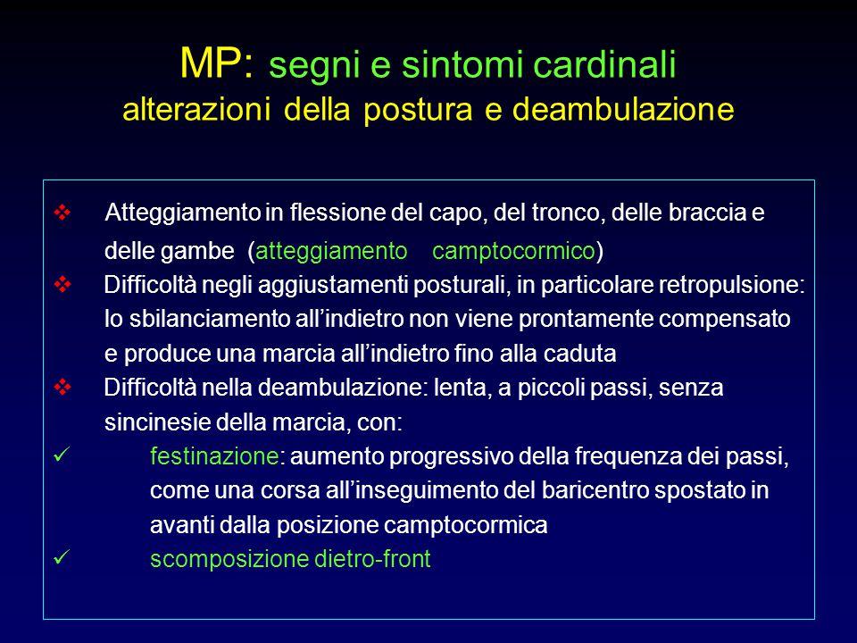 MP: segni e sintomi cardinali alterazioni della postura e deambulazione  Atteggiamento in flessione del capo, del tronco, delle braccia e delle gambe