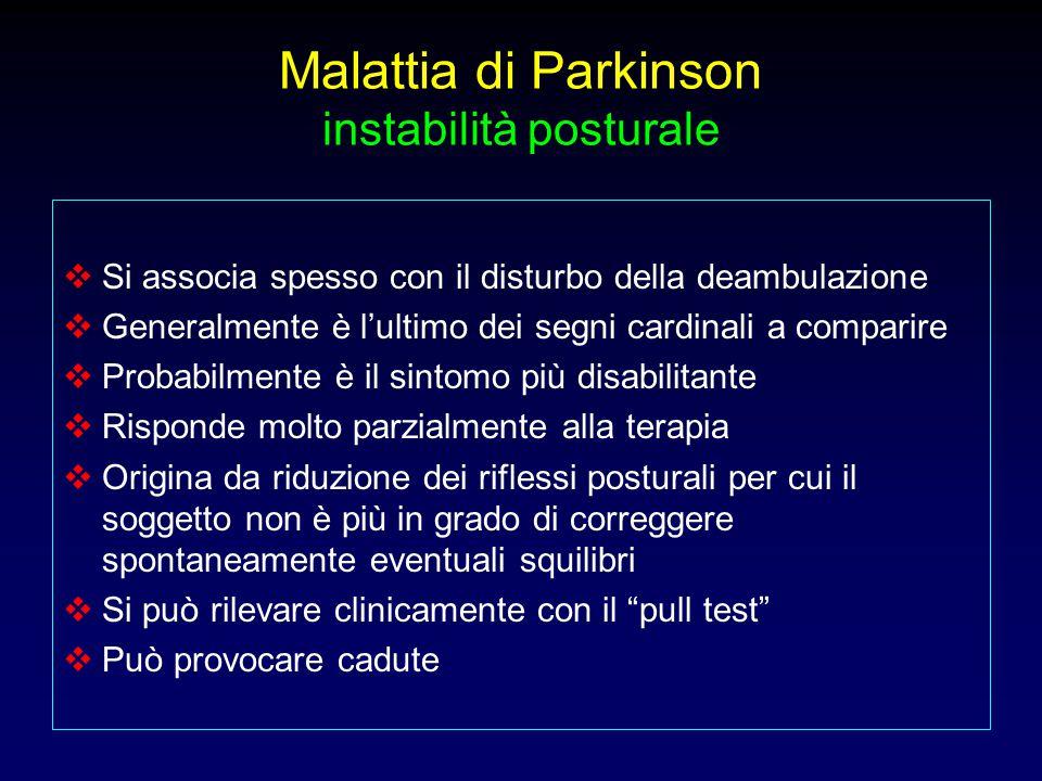 Malattia di Parkinson instabilità posturale  Si associa spesso con il disturbo della deambulazione  Generalmente è l'ultimo dei segni cardinali a co