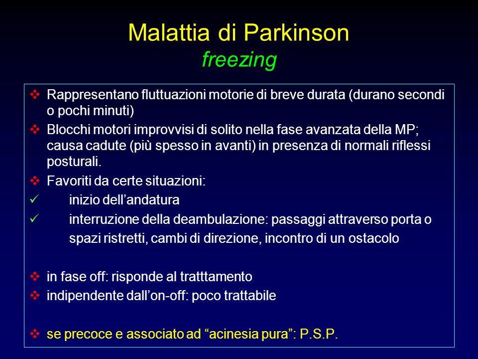 Malattia di Parkinson freezing  Rappresentano fluttuazioni motorie di breve durata (durano secondi o pochi minuti)  Blocchi motori improvvisi di sol