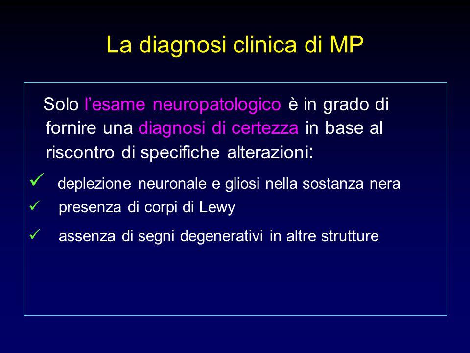 MP: neuropatologia Normale Malattia di Parkinson Substanzia nigra normale Substanzia nigra depigmentata Cellule nigrali normali Degenerazione delle cellule nigraliCorpi di Lewy