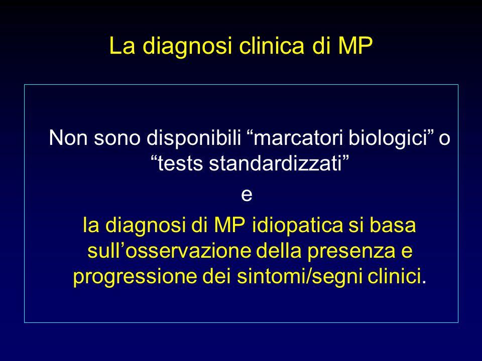 Criteri diagnostici clinici della MPi secondo la Società britannica della MP (da Hugues et al) Bradicinesia + almeno uno dei tre sintomi seguenti:  Rigidità  Tremore a riposo (da 4 a 6 Hz)  Instabilità posturale non atassica Prima tappa: diagnosi di sindrome parkinsoniana