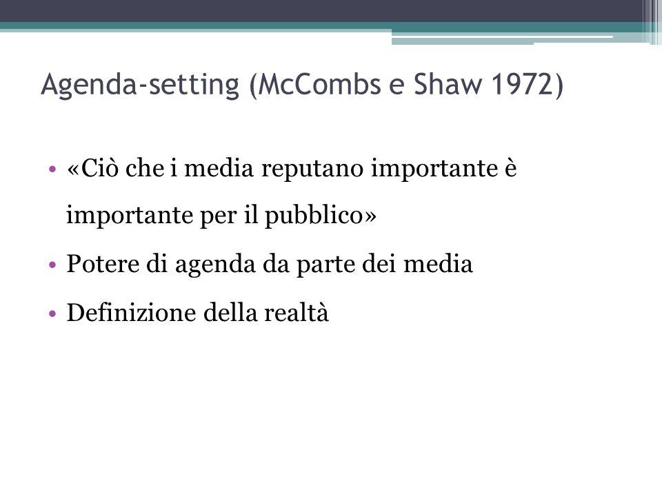 Agenda-setting (McCombs e Shaw 1972) «Ciò che i media reputano importante è importante per il pubblico» Potere di agenda da parte dei media Definizione della realtà