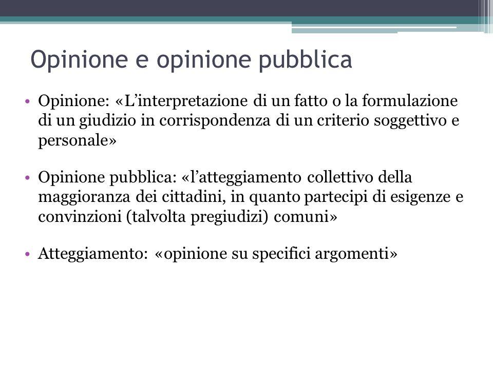 Opinione e opinione pubblica Opinione: «L'interpretazione di un fatto o la formulazione di un giudizio in corrispondenza di un criterio soggettivo e p