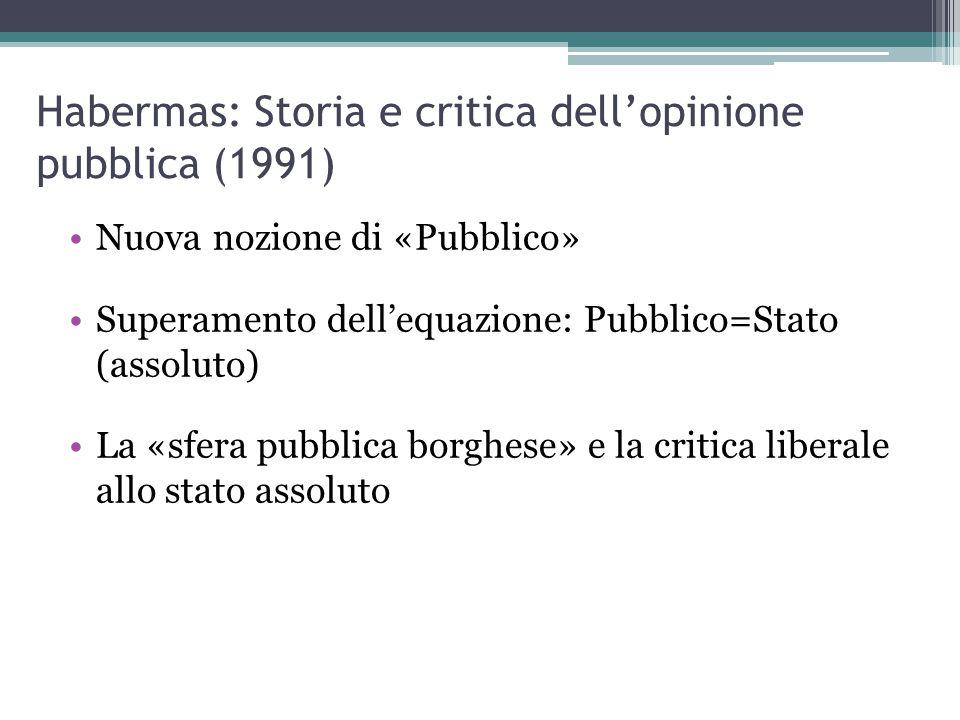 Habermas: Storia e critica dell'opinione pubblica (1991) Nuova nozione di «Pubblico» Superamento dell'equazione: Pubblico=Stato (assoluto) La «sfera pubblica borghese» e la critica liberale allo stato assoluto