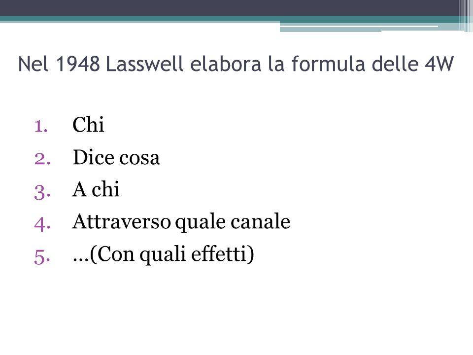 Nel 1948 Lasswell elabora la formula delle 4W 1.Chi 2.Dice cosa 3.A chi 4.Attraverso quale canale 5.…(Con quali effetti)