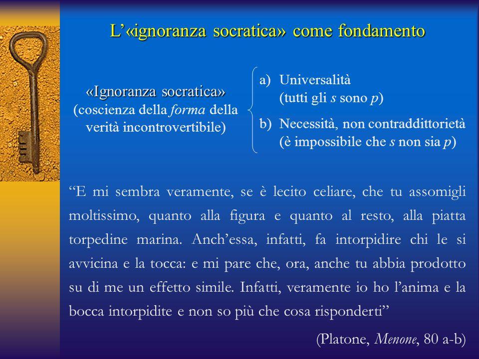 L'«ignoranza socratica» come fondamento «Ignoranza socratica» (coscienza della forma della verità incontrovertibile) a)Universalità (tutti gli s sono