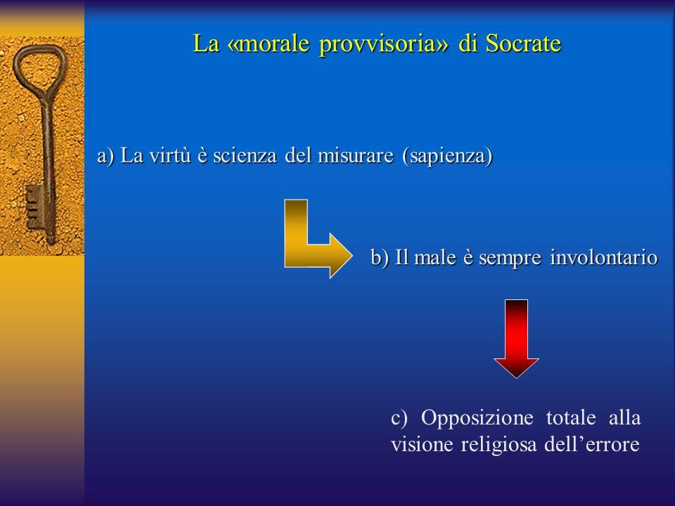 a) La virtù è scienza del misurare (sapienza) c) Opposizione totale alla visione religiosa dell'errore b) Il male è sempre involontario La «morale pro
