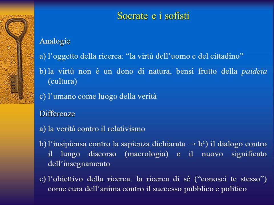 Socrate e i sofisti Differenze a) la verità contro il relativismo b)l'insipiensa contro la sapienza dichiarata → b¹) il dialogo contro il lungo discor