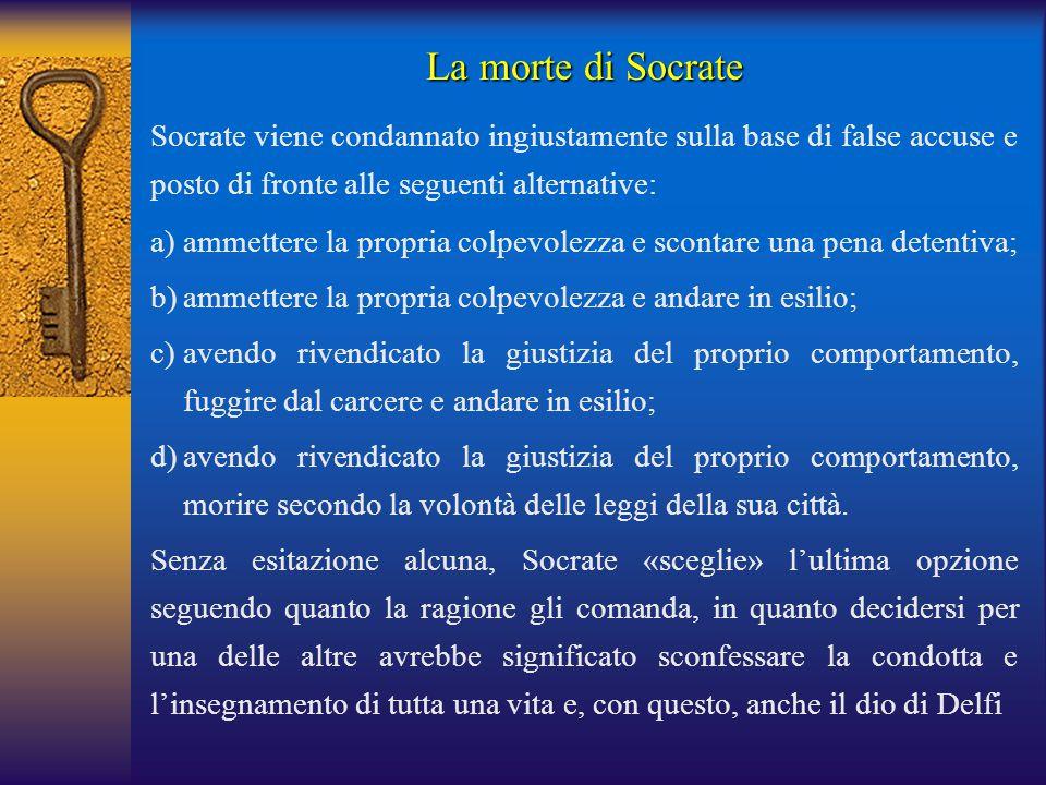 Socrate viene condannato ingiustamente sulla base di false accuse e posto di fronte alle seguenti alternative: a)ammettere la propria colpevolezza e s
