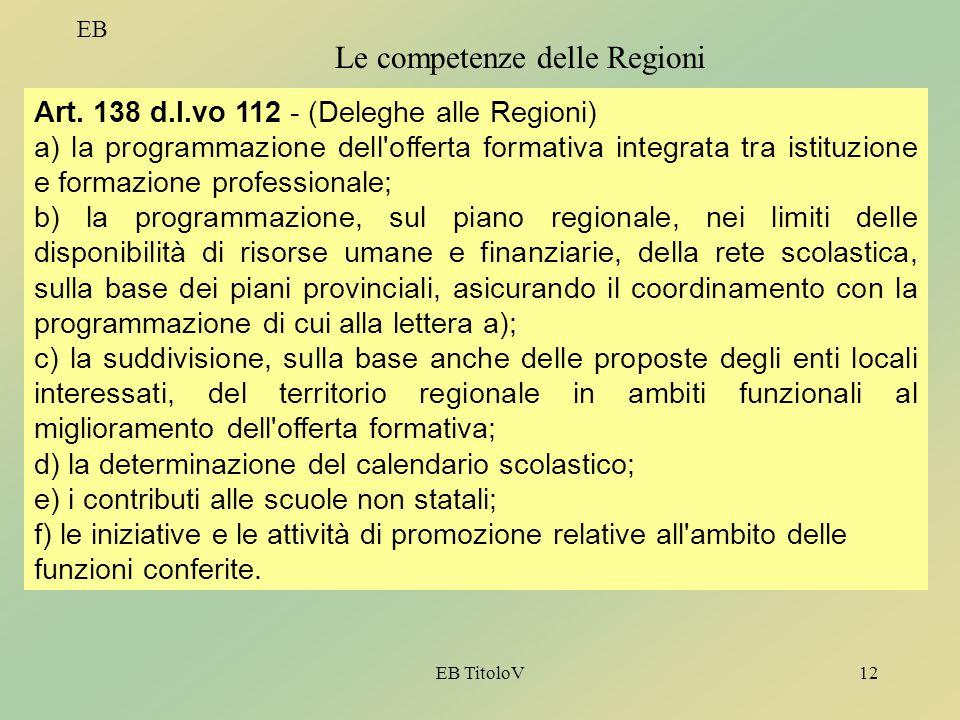 EB TitoloV12 EB Le competenze delle Regioni Art. 138 d.l.vo 112 - (Deleghe alle Regioni) a) la programmazione dell'offerta formativa integrata tra ist