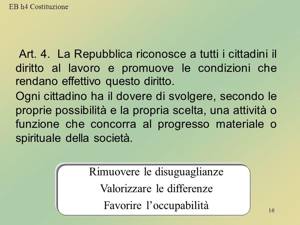 EB TitoloV16 Art. 4.  La Repubblica riconosce a tutti i cittadini il diritto al lavoro e promuove le condizioni che rendano effettivo questo diritto.