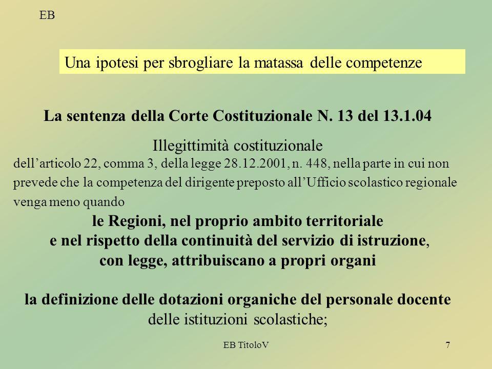 EB TitoloV7 EB Una ipotesi per sbrogliare la matassa delle competenze La sentenza della Corte Costituzionale N. 13 del 13.1.04 Illegittimità costituzi