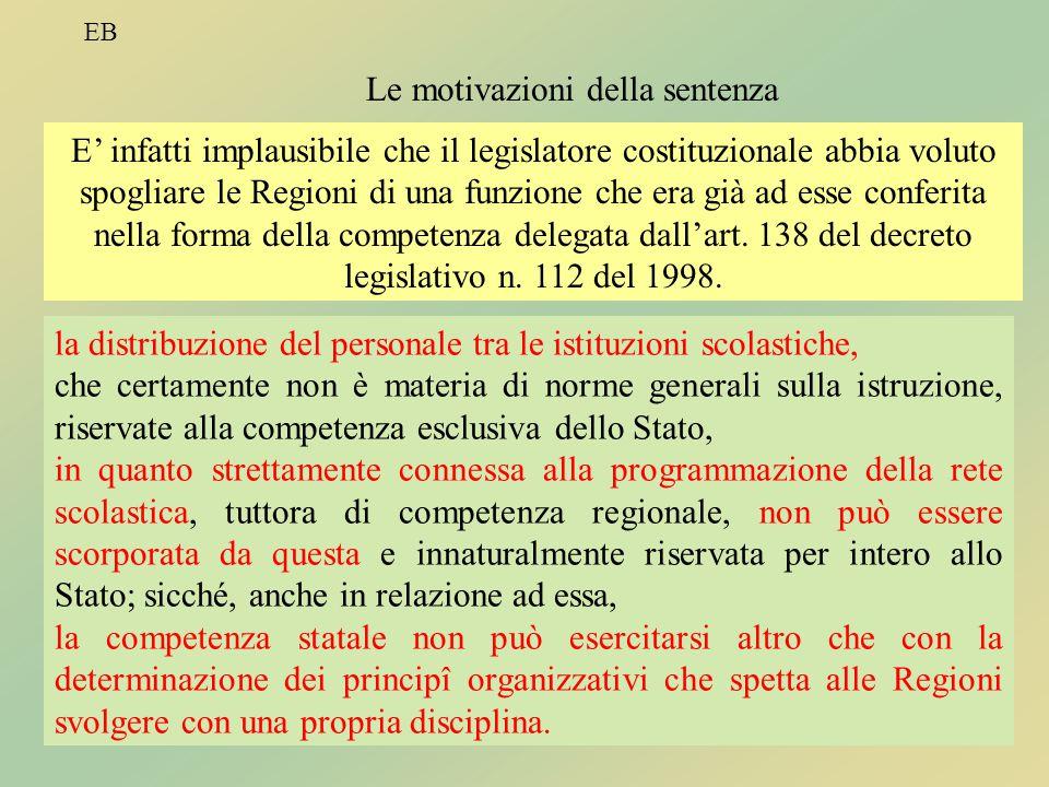 EB TitoloV8 EB Le motivazioni della sentenza E' infatti implausibile che il legislatore costituzionale abbia voluto spogliare le Regioni di una funzio