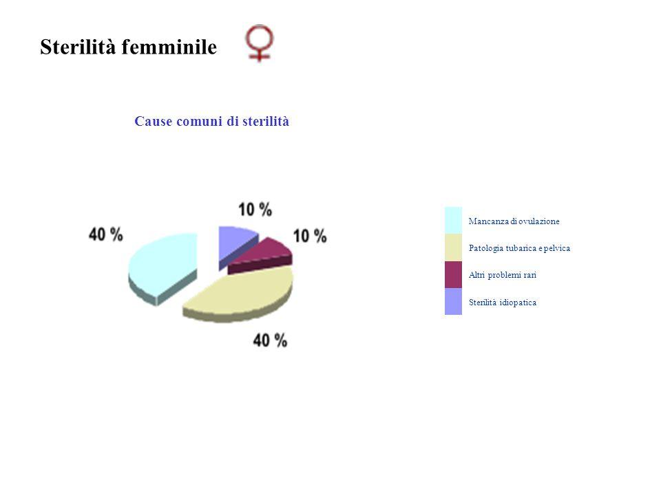 Sterilità femminile Cause comuni di sterilità Mancanza di ovulazione Patologia tubarica e pelvica Altri problemi rari Sterilità idiopatica