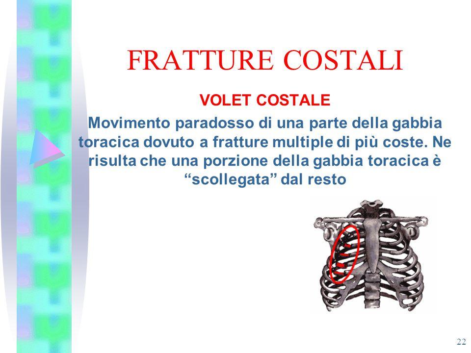 FRATTURE COSTALI 22 VOLET COSTALE Movimento paradosso di una parte della gabbia toracica dovuto a fratture multiple di più coste. Ne risulta che una p
