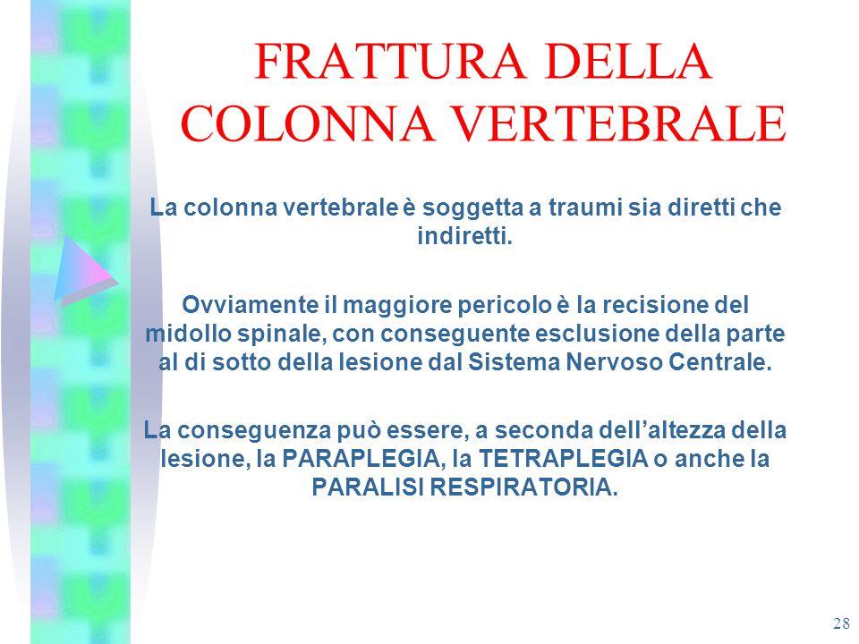 FRATTURA DELLA COLONNA VERTEBRALE 28 La colonna vertebrale è soggetta a traumi sia diretti che indiretti. Ovviamente il maggiore pericolo è la recisio