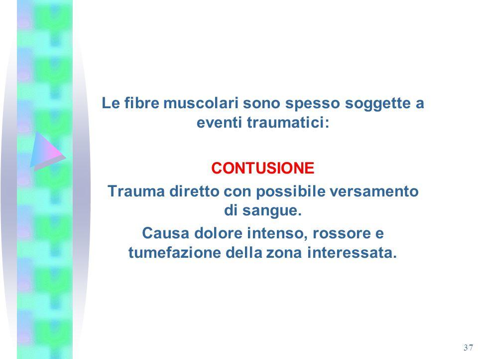 Le fibre muscolari sono spesso soggette a eventi traumatici: CONTUSIONE Trauma diretto con possibile versamento di sangue. Causa dolore intenso, rosso