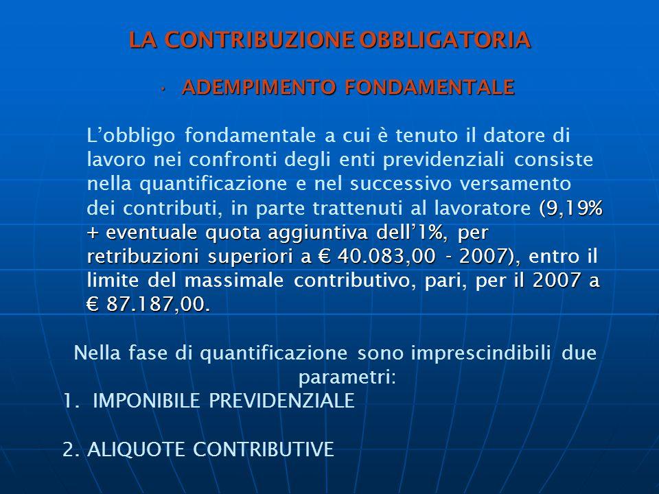 LA CONTRIBUZIONE OBBLIGATORIA ADEMPIMENTO FONDAMENTALEADEMPIMENTO FONDAMENTALE (9,19% + eventuale quota aggiuntiva dell'1%, per retribuzioni superiori a € 40.083,00 - 2007), il 2007 a € 87.187,00.