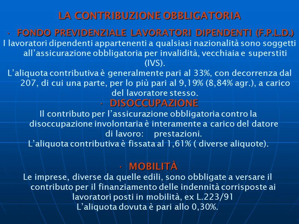 LA CONTRIBUZIONE OBBLIGATORIA FONDO PREVIDENZIALE LAVORATORI DIPENDENTI (F.P.L.D.)FONDO PREVIDENZIALE LAVORATORI DIPENDENTI (F.P.L.D.) I lavoratori dipendenti appartenenti a qualsiasi nazionalità sono soggetti all'assicurazione obbligatoria per invalidità, vecchiaia e superstiti (IVS).