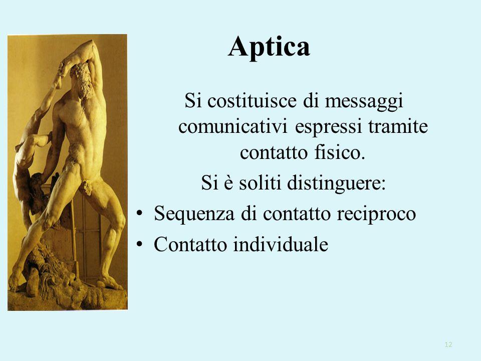 12 Aptica Si costituisce di messaggi comunicativi espressi tramite contatto fisico. Si è soliti distinguere: Sequenza di contatto reciproco Contatto i