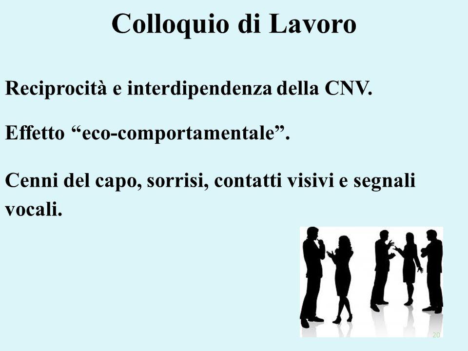 """Colloquio di Lavoro Effetto """"eco-comportamentale"""". Cenni del capo, sorrisi, contatti visivi e segnali vocali. Reciprocità e interdipendenza della CNV."""