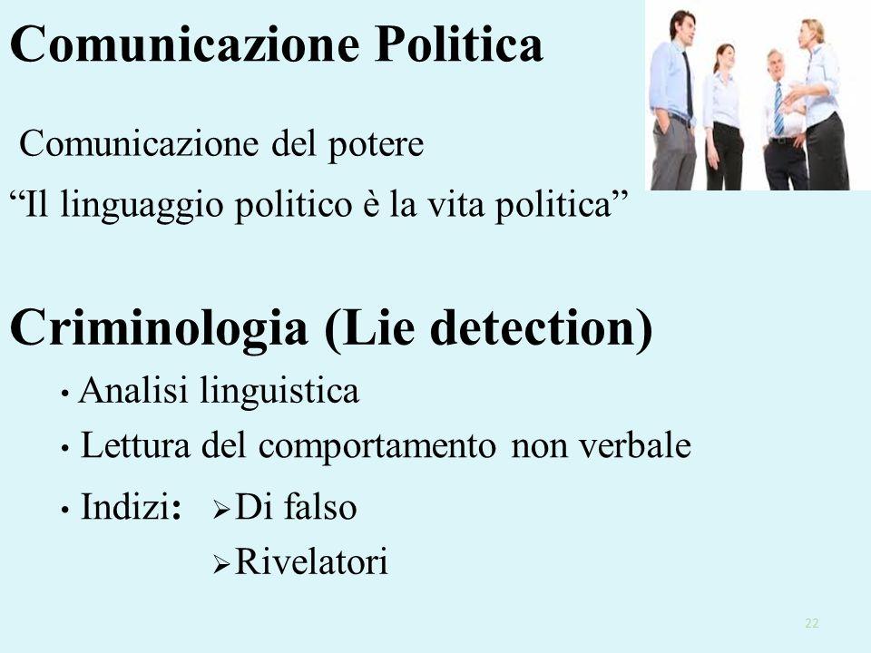 Comunicazione Politica Il linguaggio politico è la vita politica Comunicazione del potere Criminologia (Lie detection) Analisi linguistica Lettura del comportamento non verbale Indizi:  Di falso  Rivelatori 22