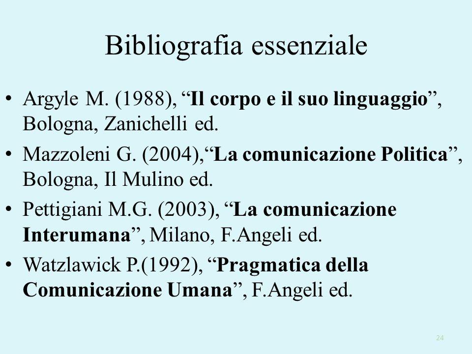 """Bibliografia essenziale Argyle M. (1988), """"Il corpo e il suo linguaggio"""", Bologna, Zanichelli ed. Mazzoleni G. (2004),""""La comunicazione Politica"""", Bol"""