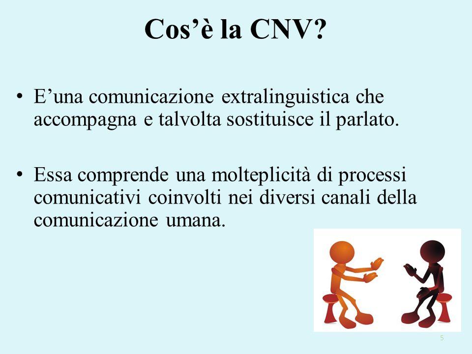 Cos'è la CNV? E'una comunicazione extralinguistica che accompagna e talvolta sostituisce il parlato. Essa comprende una molteplicità di processi comun
