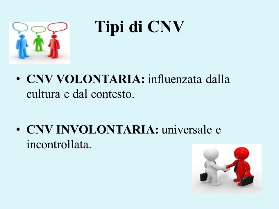 Tipi di CNV CNV VOLONTARIA: influenzata dalla cultura e dal contesto. CNV INVOLONTARIA: universale e incontrollata. 7
