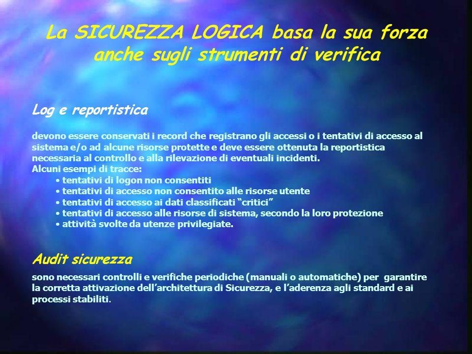 La SICUREZZA LOGICA basa la sua forza anche sugli strumenti di verifica Log e reportistica devono essere conservati i record che registrano gli accessi o i tentativi di accesso al sistema e/o ad alcune risorse protette e deve essere ottenuta la reportistica necessaria al controllo e alla rilevazione di eventuali incidenti.