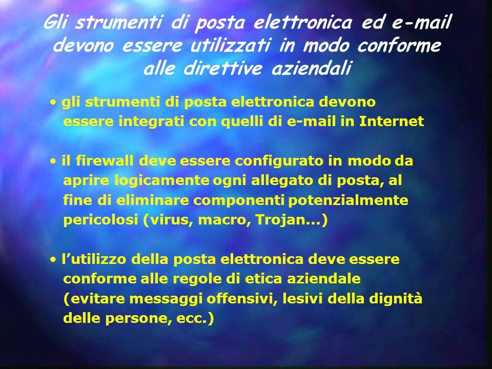 Gli strumenti di posta elettronica ed e-mail devono essere utilizzati in modo conforme alle direttive aziendali gli strumenti di posta elettronica dev