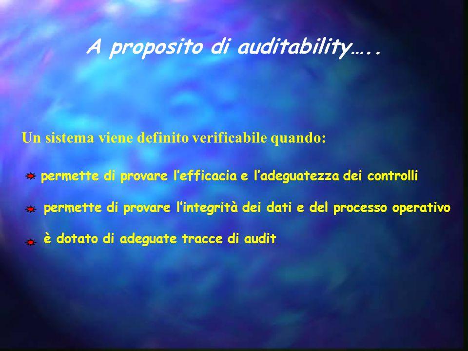 A proposito di auditability….. Un sistema viene definito verificabile quando: permette di provare l'efficacia e l'adeguatezza dei controlli permette d