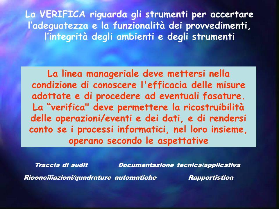 La VERIFICA riguarda gli strumenti per accertare l'adeguatezza e la funzionalità dei provvedimenti, l'integrità degli ambienti e degli strumenti La linea manageriale deve mettersi nella condizione di conoscere l efficacia delle misure adottate e di procedere ad eventuali fasature.