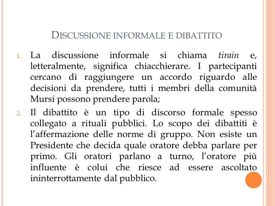 D ISCUSSIONE INFORMALE E DIBATTITO 1.