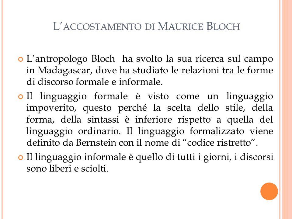 L' ACCOSTAMENTO DI M AURICE B LOCH L'antropologo Bloch ha svolto la sua ricerca sul campo in Madagascar, dove ha studiato le relazioni tra le forme di discorso formale e informale.
