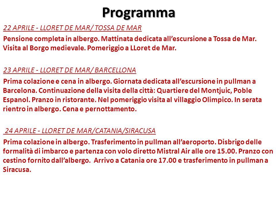 Informazioni DOCUMENTO: CARTA DI IDENTITA' VALIDA PER L'ESPATRIO O PASSAPORTO in corso di validità FRANCHIGIA BAGAGLIO: 1 BAGAGLIO MASSIMO 15 KG IN STIVA + 1 BAGAGLIO A MANO 7KG CAUZIONE HOTEL: € 10,00 BARCELLONA ingressi orientativi da pagare in loco: Sagrada Famigliaeuro 5,00 (studenti fino a 18 anni) Cattedraleeuro 4,00 (studenti fino a 18 anni) Parc Guelleuro 0,00 (studenti fino a 18 anni) Fondazione Miròeuro 6,00 (studenti fino a 18 anni) Museo Picassoeuro 6,00 (studenti fino a 18 anni) La Pedreraeuro 5,50 (studenti fino a 18 anni) Museo Dalì (Figueres)euro 8,00 (studenti fino a 18 anni)