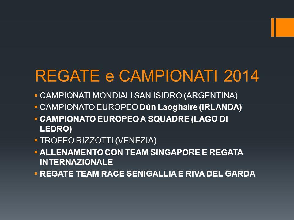 REGATE e CAMPIONATI 2014  CAMPIONATI MONDIALI SAN ISIDRO (ARGENTINA)  CAMPIONATO EUROPEO Dún Laoghaire (IRLANDA)  CAMPIONATO EUROPEO A SQUADRE (LAGO DI LEDRO)  TROFEO RIZZOTTI (VENEZIA)  ALLENAMENTO CON TEAM SINGAPORE E REGATA INTERNAZIONALE  REGATE TEAM RACE SENIGALLIA E RIVA DEL GARDA