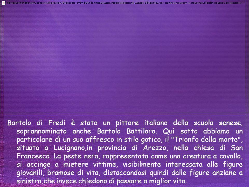 Bartolo di Fredi è stato un pittore italiano della scuola senese, soprannominato anche Bartolo Battiloro. Qui sotto abbiamo un particolare di un suo a
