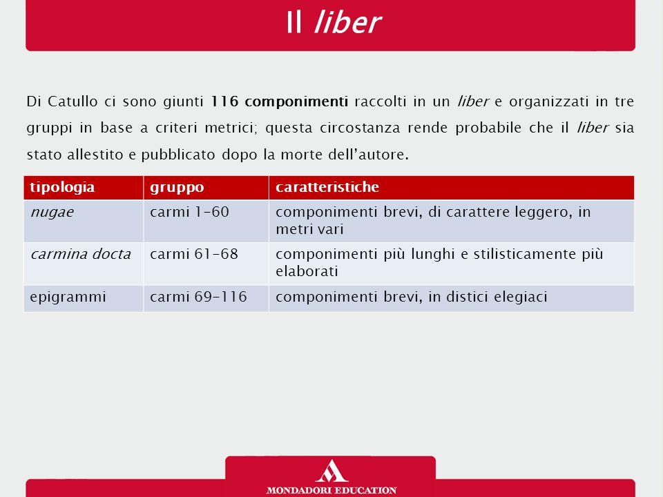 Il liber Di Catullo ci sono giunti 116 componimenti raccolti in un liber e organizzati in tre gruppi in base a criteri metrici; questa circostanza ren