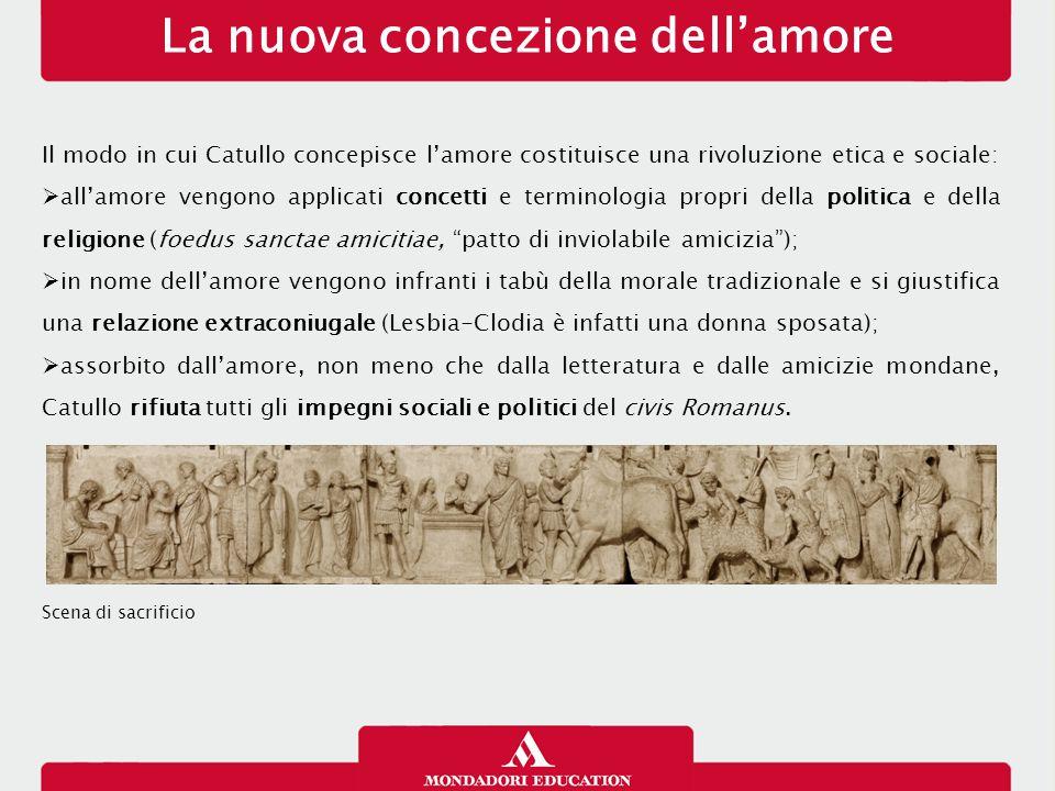 La nuova concezione dell'amore Il modo in cui Catullo concepisce l'amore costituisce una rivoluzione etica e sociale:  all'amore vengono applicati co