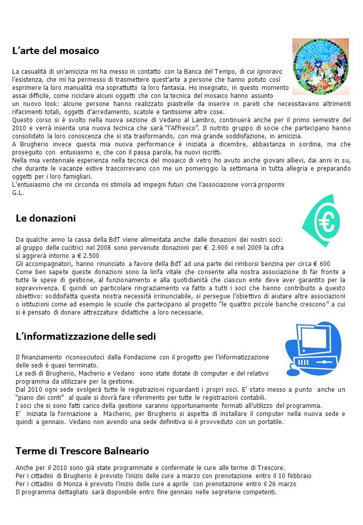 Banca del Tempo di Monza e Brianza - Via Correggio 59 - 20052 MONZA Segreteria dal lunedì al venerdì orario 10.00 - 13.00 Tel + segr.