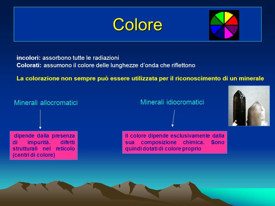 Colore incolori: assorbono tutte le radiazioni Colorati: assumono il colore delle lunghezze d'onda che riflettono La colorazione non sempre può essere