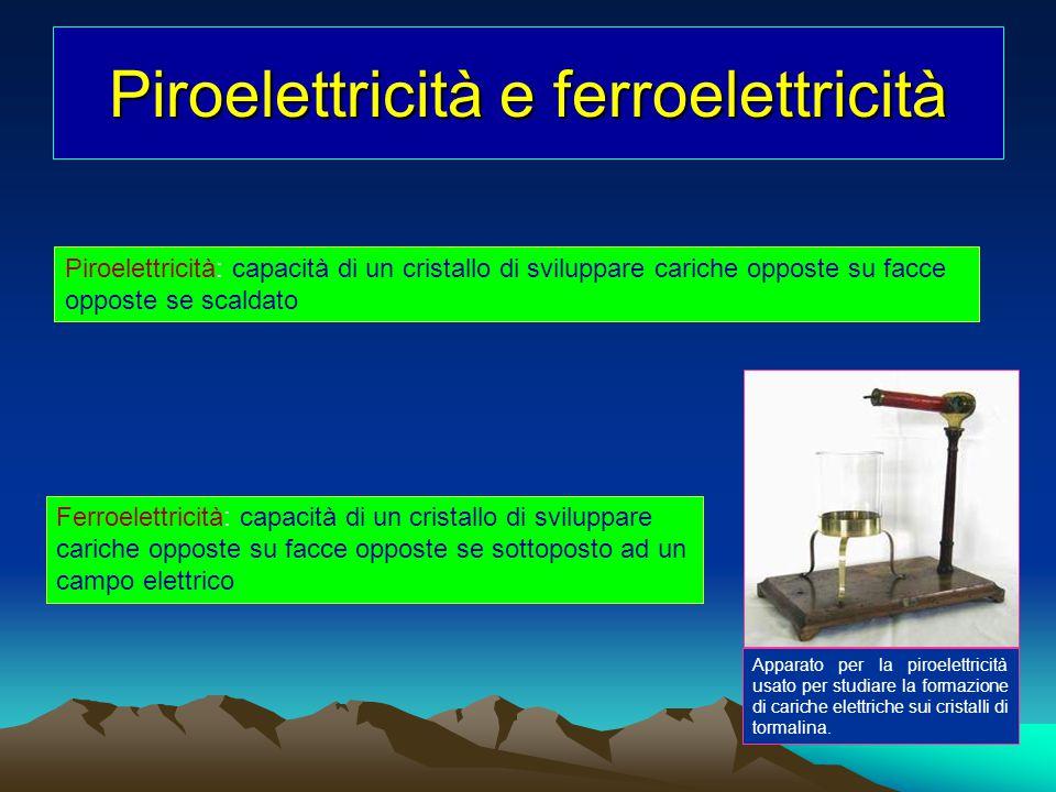 Piroelettricità e ferroelettricità Piroelettricità: capacità di un cristallo di sviluppare cariche opposte su facce opposte se scaldato Apparato per l