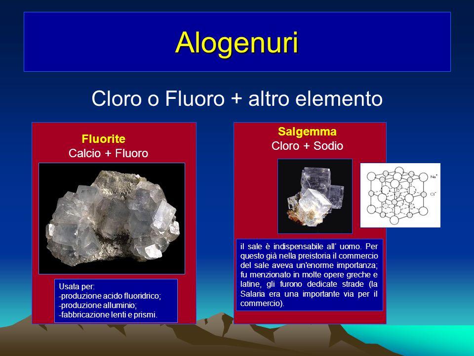 Alogenuri Cloro o Fluoro + altro elemento Fluorite Calcio + Fluoro Usata per: -produzione acido fluoridrico; -produzione alluminio; -fabbricazione len