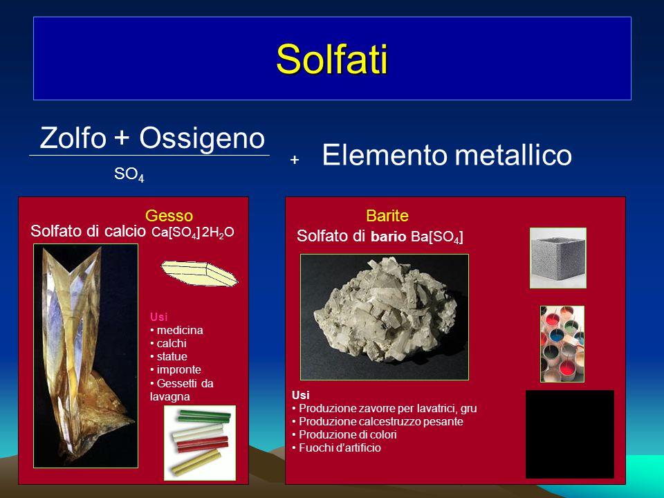 Solfati Zolfo + Ossigeno SO 4 + Elemento metallico Gesso Solfato di calcio Ca[SO 4 ] 2H 2 O Usi medicina calchi statue impronte Gessetti da lavagna Ba