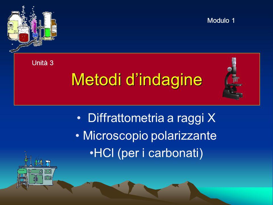 Metodi d'indagine Diffrattometria a raggi X Microscopio polarizzante HCl (per i carbonati) Modulo 1 Unità 3