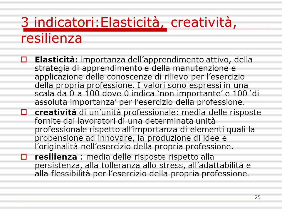25 3 indicatori:Elasticità, creatività, resilienza  Elasticità: importanza dell'apprendimento attivo, della strategia di apprendimento e della manutenzione e applicazione delle conoscenze di rilievo per l'esercizio della propria professione.