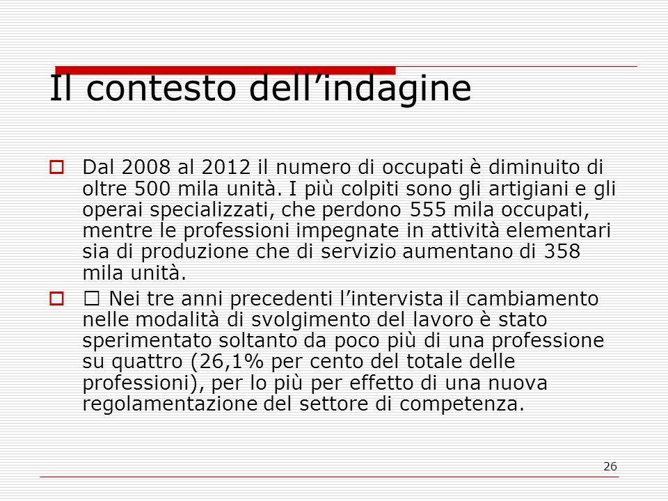 26 Il contesto dell'indagine  Dal 2008 al 2012 il numero di occupati è diminuito di oltre 500 mila unità.
