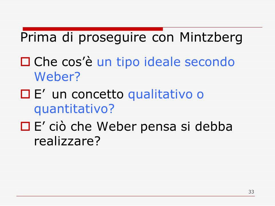 33 Prima di proseguire con Mintzberg  Che cos'è un tipo ideale secondo Weber.