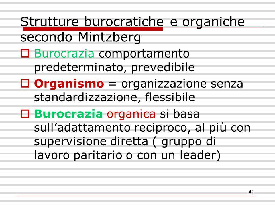 41 Strutture burocratiche e organiche secondo Mintzberg  Burocrazia comportamento predeterminato, prevedibile  Organismo = organizzazione senza standardizzazione, flessibile  Burocrazia organica si basa sull'adattamento reciproco, al più con supervisione diretta ( gruppo di lavoro paritario o con un leader)